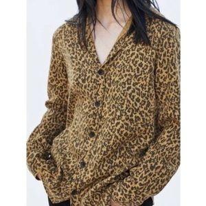 Zara Denim Lyocell Leopard Print Burton Up Flirty Shirt Size Small